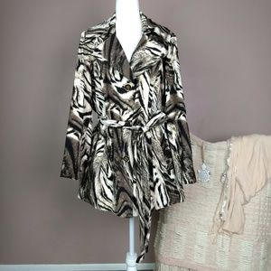 Susan Graver White Tiger Trench Coat Jacket A8